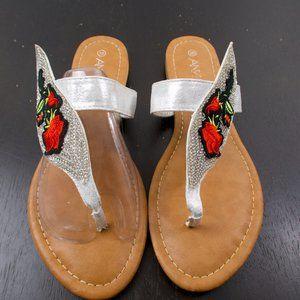Anna Silver Rose Rhinestone sandals 10